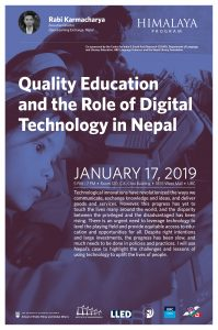 MET-hosted lecture: Quality Education and the Role of Digital Technology in Nepal, January 17th 2019