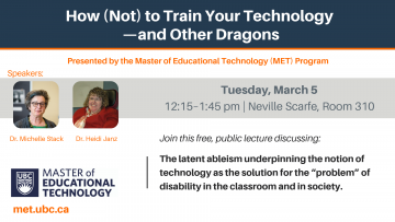 MET-hosted Lecture on Technology, Inclusion and Ability, March 5th 2019